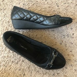 CL Laundry black quilted leather wedges